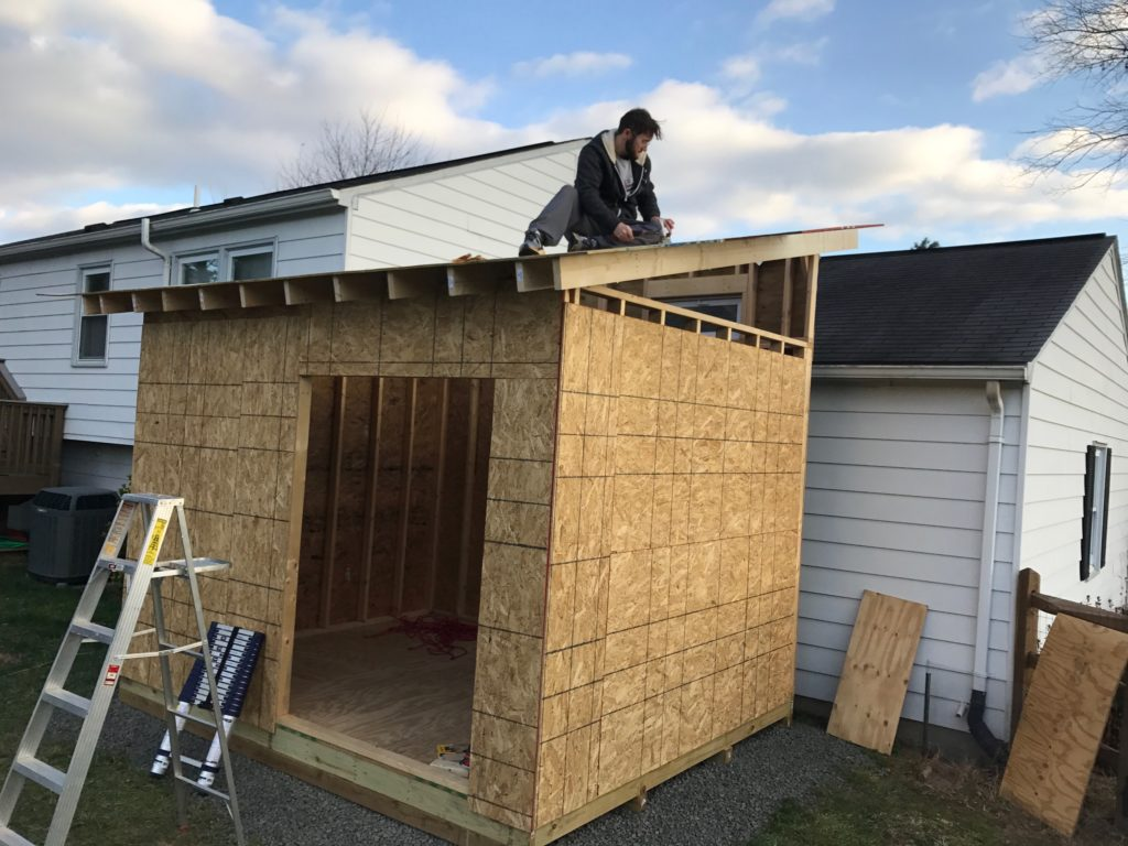 Nailing plywood to roof